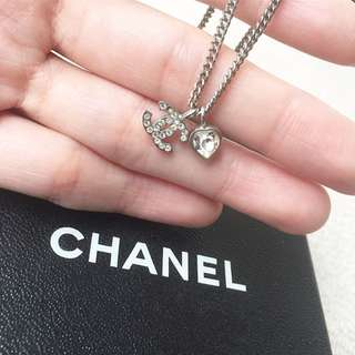 AUTHENTIC CHANEL CC Heart Diamante Necklace