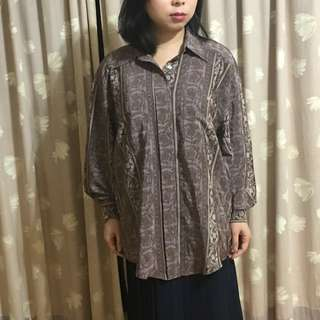 🚚 [Chord] 復古 日系 氣質 紫色花紋長袖襯衫 寛版 罩衫
