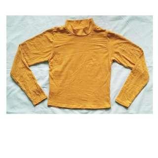 Mustard Ribbed Mock Turtleneck Sweater