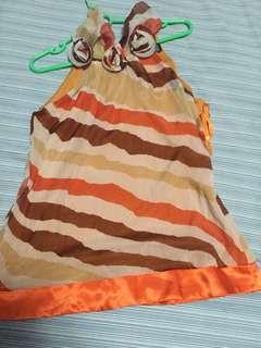 Orange Silk Halter Top with Floral Detail
