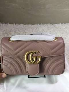 Gucci marmont mini flap bag in nude
