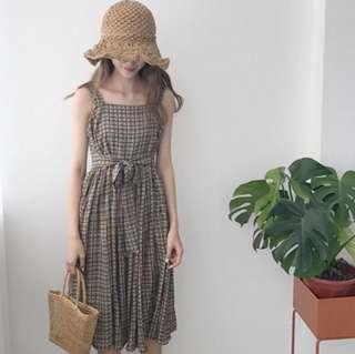 無袖寬鬆顯瘦格紋背帶收腰復古紋連身裙