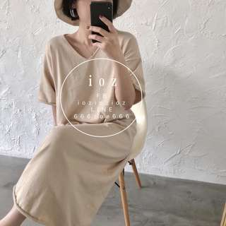 ioz 春 日系簡約素面V領針織長T衣裙