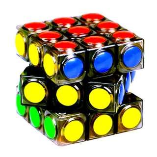 Rubik's Cube Round Plastic Tile on Transparent Body