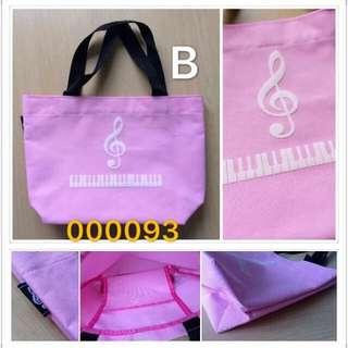 (B款-粉紅色)優質軟身帆布手挽袋 music Keyboard Piano handbag lunch bag,魔術貼袋口