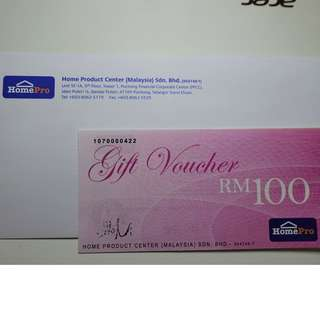 HOMEPRO RM100 CASH VOUCHER CAN REDEEM IN ANY BRANCH