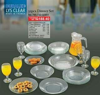 Duralex Lys Clear 32pcs Dinner Set