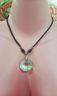 Choker with Faux Crystal Pendant