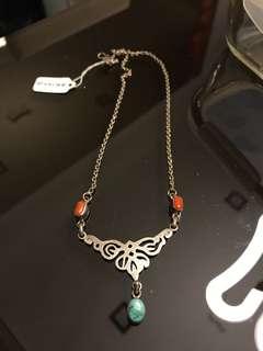 Turquoise orange mixture statement necklace