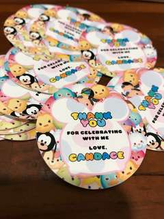 Hang tags for birthday party customised tsum tsum