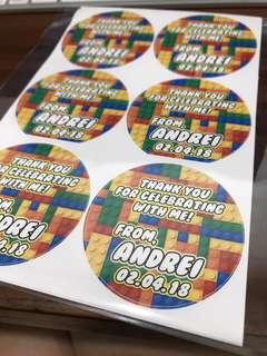 Customised birthday party stickers labels