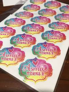 Customised birthday party stickers labels rainbow