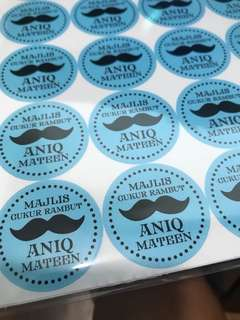 Moustache baby little man theme birthday party customised labels stickers