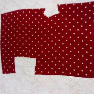 Dark red polka dot pattern polyester fabric