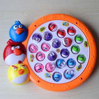 Electronic Rotating Megnetic Fishing Pool Game with Music Pretend Play-Angrybird