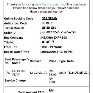 Bus Ticket [TBS] to [PENANG]