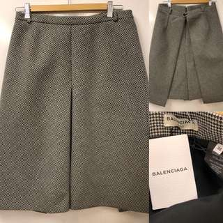 New Balenciaga black and white wool skirt size 38