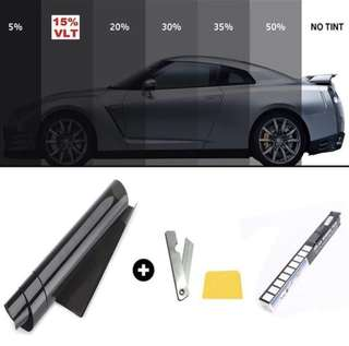 2 PLY 50cm X 3m Window Tinting Film Tinting Roll Kit 5%, 15%,20%,35% VLT Black UV-Proof Scratch Resistant for Auto Car House