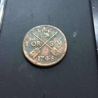Vintage Sweden 1748 One Ore coin