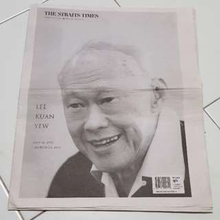 The Straits Times Special Edition of Lee Kuan Yew on 23rd March 2015