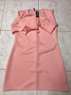 Pink Cold Shoulder Ribbon Sleeves Dress