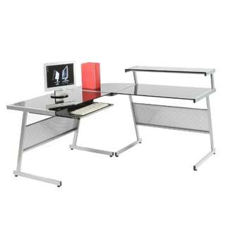L-Shape glass computer table from Vhive