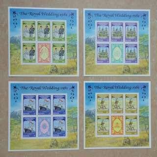 [lapyip1230] 肯尼亞-雪白小版張 1981年 查理斯大婚 四全版(即五套票) Set MNH