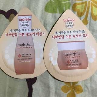 Etude House up grade moistfull collagen 精華及面霜兩包 護膚品包郵Sample