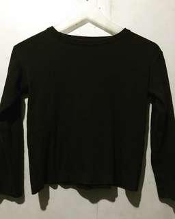 Black Long Sleeves Crop Top