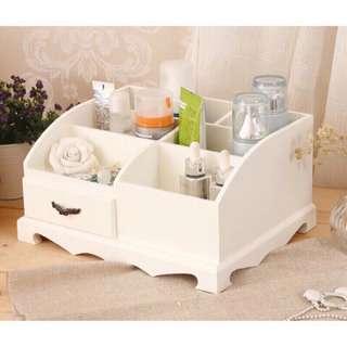 🚚 現貨》木質化妝品盒 珠寶盒 韓版貴族風 zakka 化妝品收納盒 櫃子香水收納盒 象牙白 化妝盒