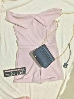 Off Shoulder Dusty Pink mini jumpsuit