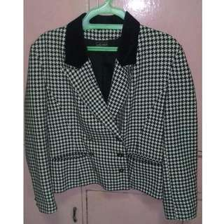 Houndstooth Double Breasted Plus Size Blazer