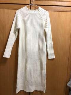 白色針織一件式長裙