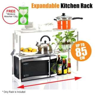 (LIMITED STOCK)FREE POS Ready Stock 2 Layer Expandable 85cm Stainless Steel Shelf Rack Microwave Shelf