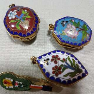 Vintage Enamel Amulet Pendant & brooch Pin