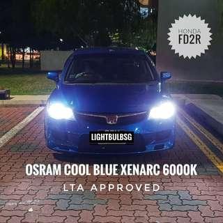 HONDA FD2R - Osram xenon HID 6000K headlight bulb. BMW. VW. AUDI. LEXUS. MERCEDES. Philips D1S D2S D3S D4S D2R