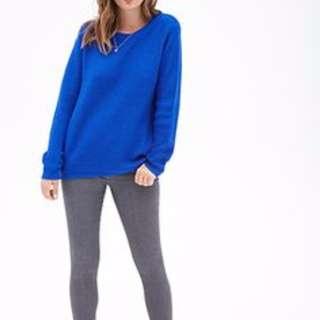 Forever 21 Oversized Blue Sweater