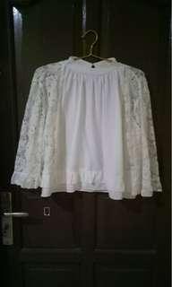 Top blouse wanita brukat ELISABETH