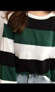 Green and white striped top