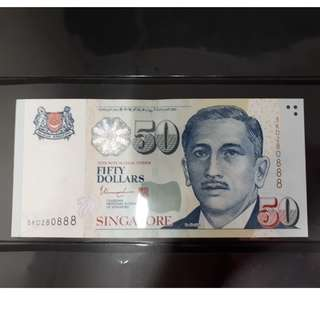 """Singapore S$50 Dollar Bill with Nice Number : """" 5KD280888 """" (UNC)"""