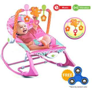 SALE FREE POS Ready Stock Baby Rocker Bouncer Born Toddler Music Chair With Safety Belt
