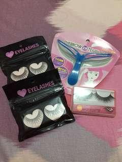 Bundle of F21 false eyelashes and eyebrow template