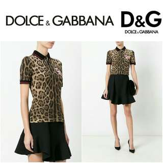 -Yunik- Authentic Dolce and Gabbana Leopard Print Collar Shirt (Brown) With Logo Patch