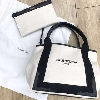 BALENCIAGA CABAS S 單寧 帆布 肩背包 子母包 黑白雙色
