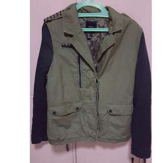 Forever 21 Color Block Military Green Parka/Coat/Jacket/Vest (flaws on the sleev