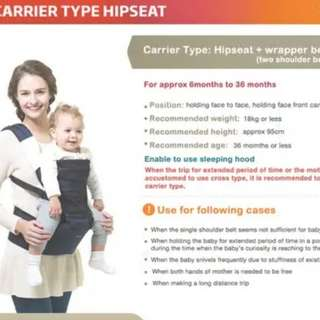 50% off 3in1 Korea Hip Seat Baby Carrier