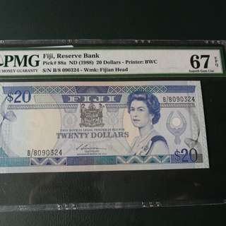 FIJI $20 ND(1988) graded at PMG 67EPQ