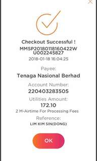 Utilities bill (TNB,TM,Astro)