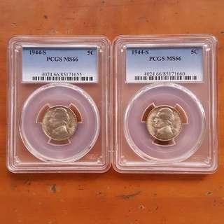2 x PCGS Silver 5C USA 1944 MS66