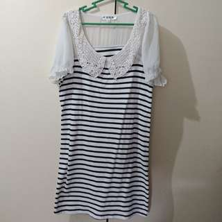 Striped Collared Casual Dress